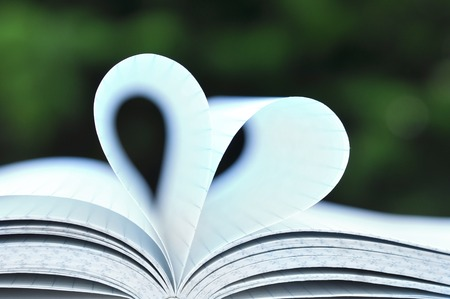 novel: Open book with pages in heart shape on wooden table on natural background Stock Photo
