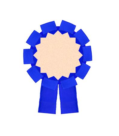 real trophy: blue award winning ribbon rosette isolated on white background
