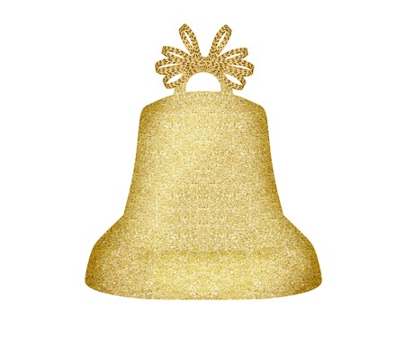 Golden Christmas bell isolated on white background