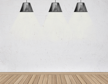 ceiling lamps: concrete room with four ceiling lamps