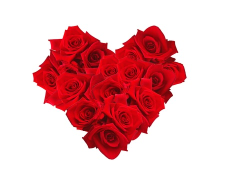 valentines day mother s: Valentines Day heart made of red roses isolated on white