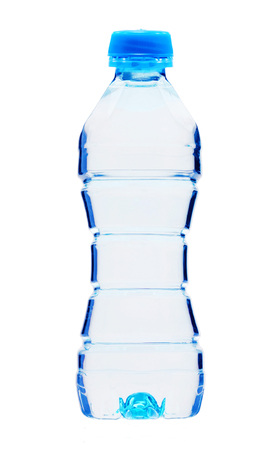 Blue bottle with water isolated on white background Stock Photo