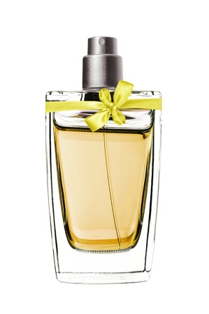 womens perfume in beautiful bottle isolated on white