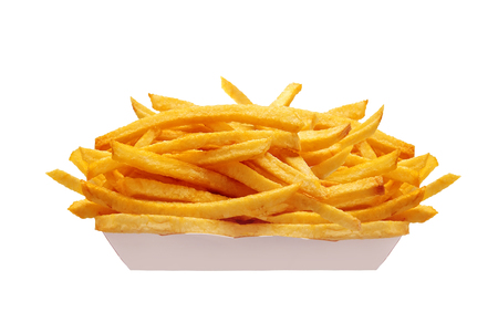 French fries in white box isolated on white 스톡 콘텐츠