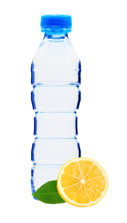 Blue bottle with water and lemon isolated on white background Stock Photo