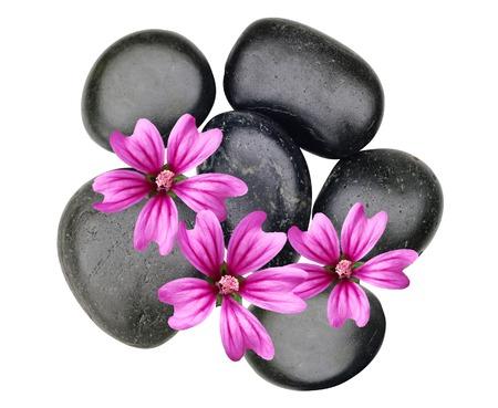 Pierres noires de spa et fleurs roses isolés on white Banque d'images - 70978109