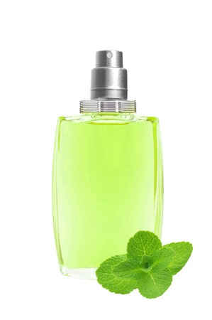 perfume in beautiful blue bottle and mint herb isolated on white  background Stock Photo