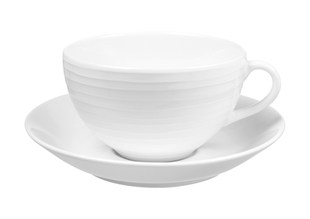cereal bar: Clear white cup on plate isolated on white background