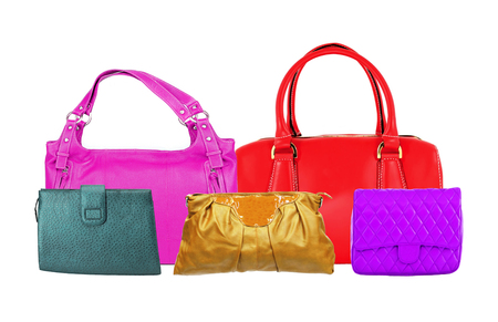 Colorful women bags isolated on white background Stock Photo
