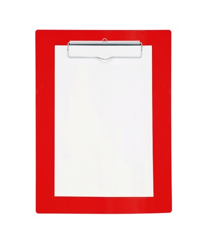 workday: Red clipboard with blank paper isolated on white background