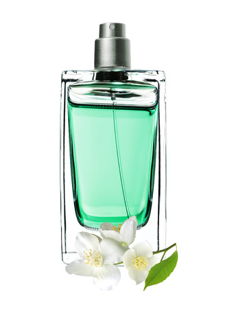 woman perfume in beautiful bottle and jasmine flowers isolated on white background Stock Photo