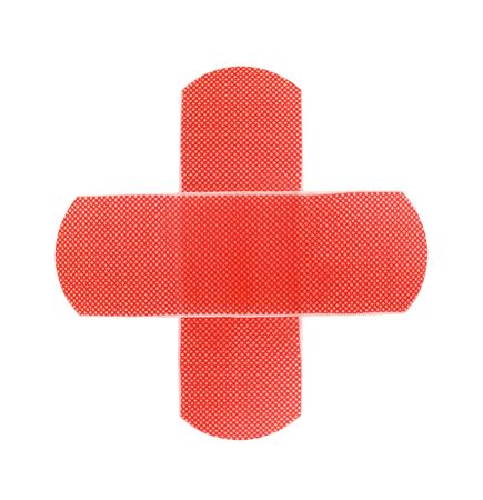 Red medical patch isolated on white background Imagens