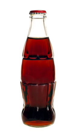 glass bottle of cola soda isolated on a white background Stock Photo