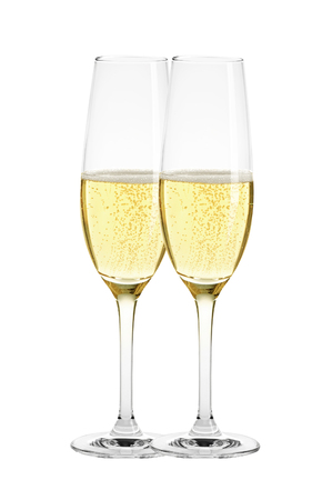 fizz: Two glasses of champagne isolated on white background