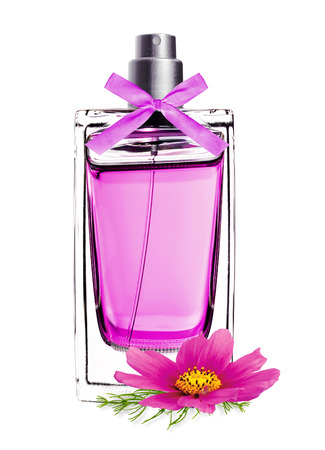 perfume in beautiful bottle with pink flower isolated on white Stock Photo