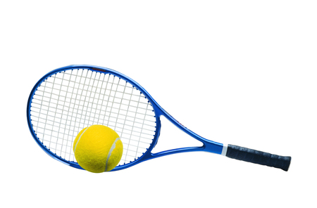 handled: Blue tennis racket and yellow ball isolated white background