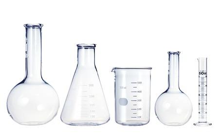 試験管は、白で隔離。実験用ガラス器具 写真素材