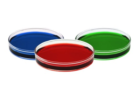 stinks: color liquid in petri dishes isolated on white background