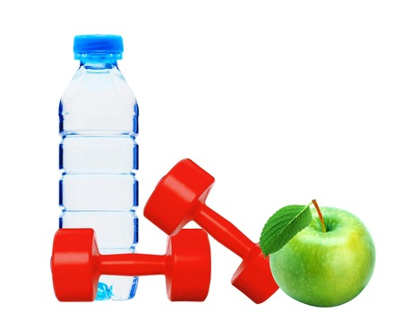 red dumbbells fitness, green apple and bottle of water isolated on white