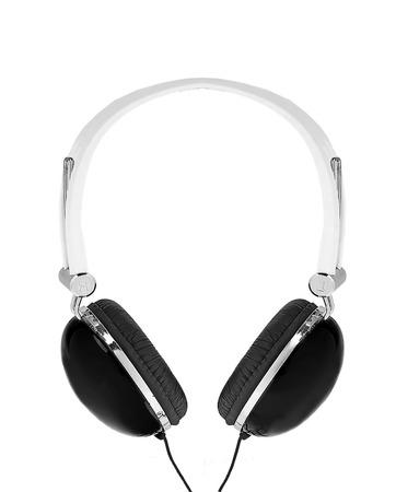 onslaught: black modern headphones isolated on white background Stock Photo