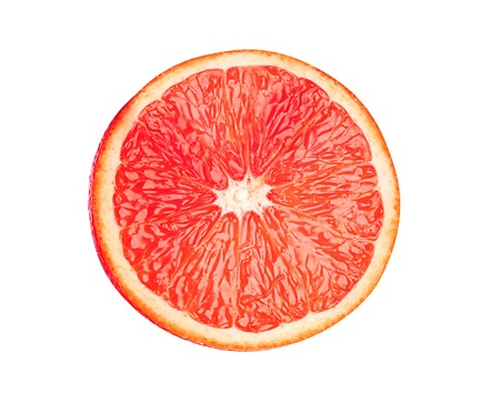 juicy grapefruit slices isolated on white background