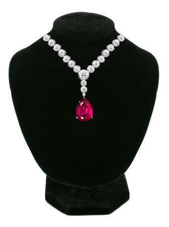 Diamond and ruby necklace on black mannequin isolated on white background Stock Photo
