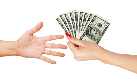 American dollars in a women hand and man hand isolated on white background