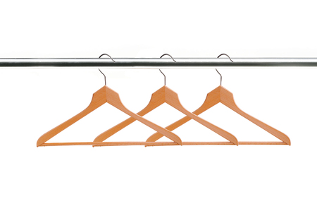 wooden clothes hangers isolated on white background