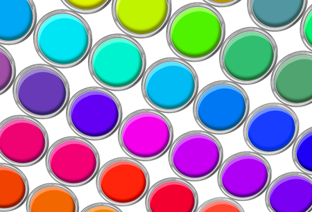 Paint cans color palette, cans opened top view isolated on white