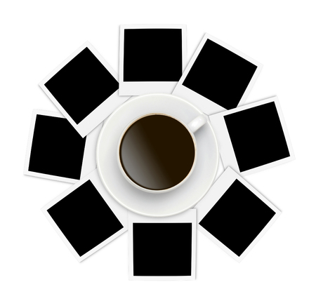 Photo papers and coffee cup on white background