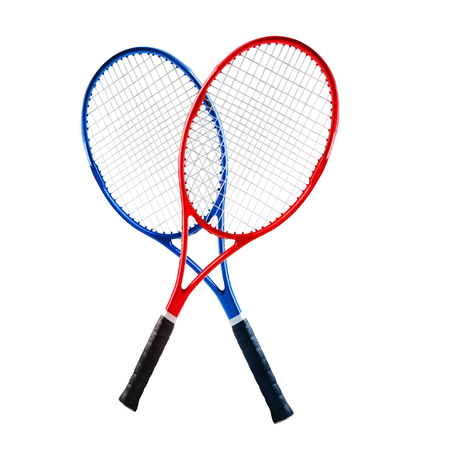Blue and red tennis rackets isolated white background Stock Photo