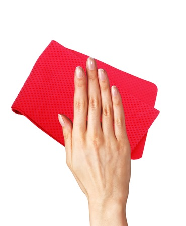 Hand wiping surface with red rag isolated on white 版權商用圖片