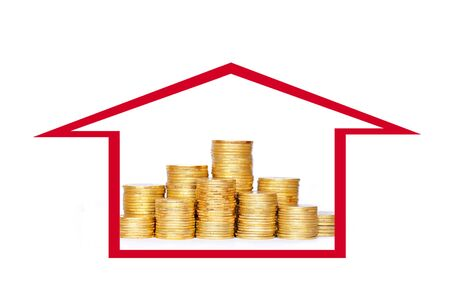 Many coins in column in house icon. Financial concept.