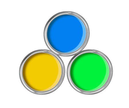 offene Blechdosen mit Farbe auf weißem Hintergrund Standard-Bild