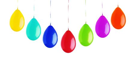 Colorful bright balloons isolated on white background
