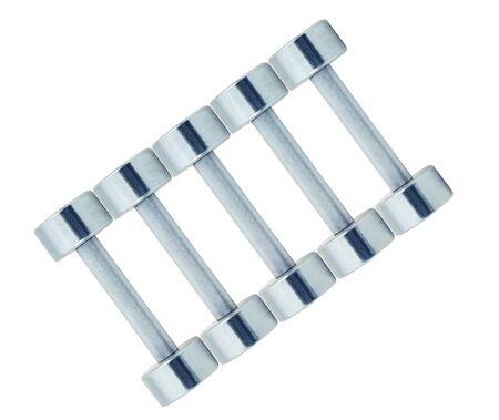 Chromed fitness dumbbells isolated on white background Stock fotó