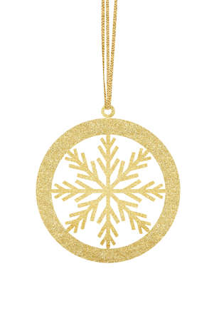 Golden Glitter Decorative Ball for Christmas Tree isolated on White Background