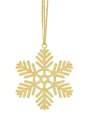 Golden Glitter Decorative Snowflake for Christmas Tree isolated on White Background