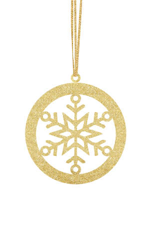Golden Glitter Decorative Ball with Snowflake for Christmas Tree isolated on White Background