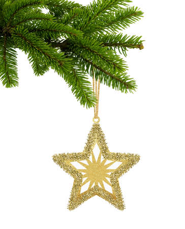 Golden Christmas star on green tree branch isolated on white background Zdjęcie Seryjne