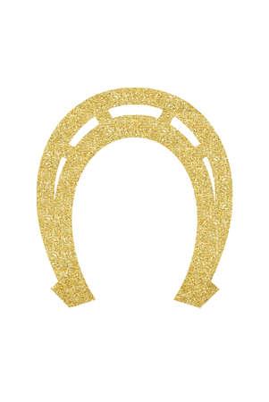 Golden Glitter Decorative Horseshoe for Christmas Tree isolated on White Background