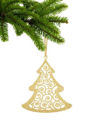 Golden Glitter Decorative Tree on Green Christmas Fir Tree isolated on White Background Zdjęcie Seryjne