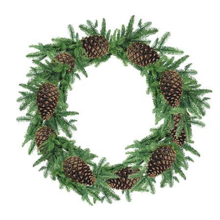 Christmas wreath, isolated on white Archivio Fotografico