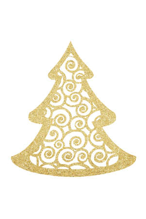Golden Glitter Decorative Christmas Tree isolated on White Background Zdjęcie Seryjne