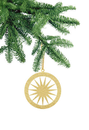 Golden Glitter Decorative Ball with Star on Green Christmas Fir Tree isolated on White Background