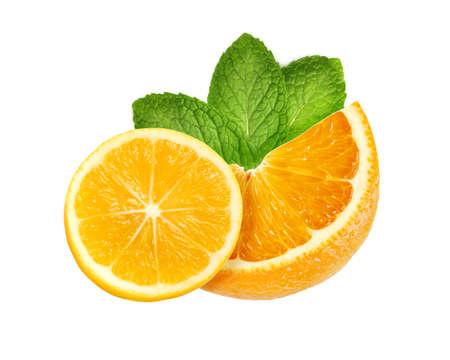 Slice of sweet juicy orange and lemon fruit with mint leaves isolated on white background Stock fotó