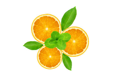 Three orange fresh fruit slices with green leaves and mint herb isolated on the white background Stock fotó