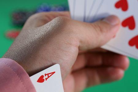 the sleeve: Ace Up Sleeve Stock Photo