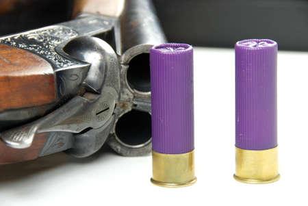 shootgun and ammunition Stock Photo