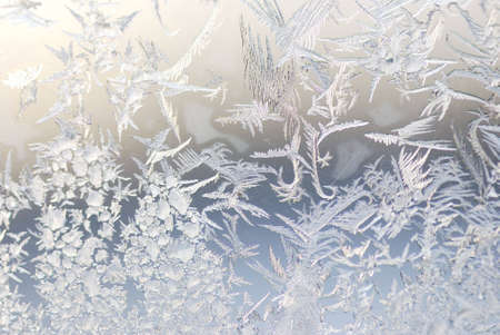 crystal background: close up shot of ice crystals on a window Stock Photo